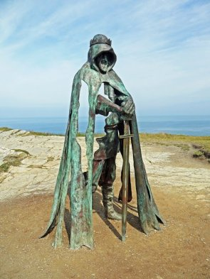 King Arthur statue at Tintagel Castle by Rubin Eynon
