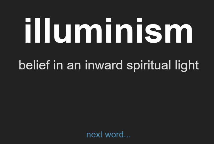Example word, Random Word Generator: Illuminism